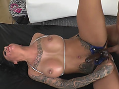Rough anal pegging with big titted tattooed MILF and her lover