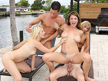 Sexy bikini hotties enjoyed an outdoor pool fuck