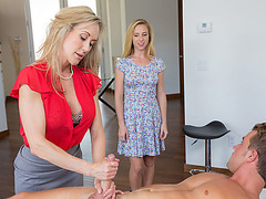 Masseur Brandi Love is touchy to a guy and Natasha gives blowjob