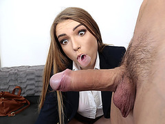 Cute babe Amber Gray blows and fucks a monster cock