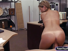 Cute waitress pawns her pussy and fucked at the pawnshop