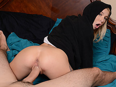 Tiny blonde Kenzie Reeves takes bros giant dick