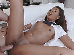Black valley girl Zoey gets it doggy style in the big white guys mansion Beautiful ebony babe