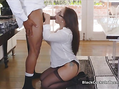 Secretary in pantyhose ass fucked by BBC