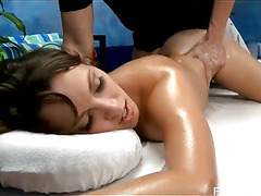 Cute 18 year old Lily seduced and fucked hard after her free massage!