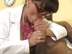 Sexy brunette MILF with big boobs, Lisa Ann, plays doctor with a strapping