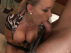 Busty mature Tanya Tate gets a massage from her much less experienced man.