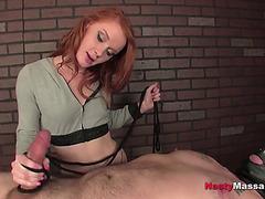 Redhead in CFNM femdom