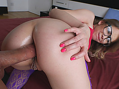 Babe with glasses ass fucked by big dick in the bedroom