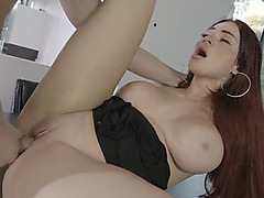 Redhead babe gets pounded by boss