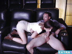 Lacey Channing watches a porn movie and recreates it live