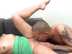 Female agent gives footjob and fuck