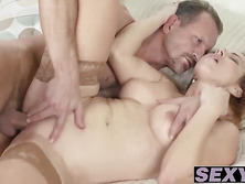 Sexy and busty redhead chick Bibi Fox gets railed and licked