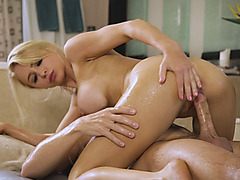 Huge tits blond masseuse sucks off and banged by client