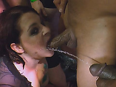 Naughty girls take on a group of men