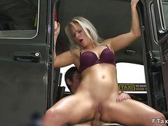 Female fake taxi driver bangs in garage