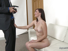 Naked model posing and fucking