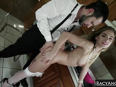 Mobster's Young Blonde Wife Sydney Cole Sucking Cock and Balls with Her Pink Clit and Lusty Mouth