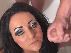 Brunette whore blows til she gets a taste of cum in her mouth