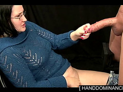 Milf Is Stroking Slave's Big Penis