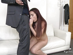 Redhead amateur model sucks and fucks