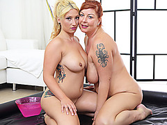 slippery massage with lesbian milfs