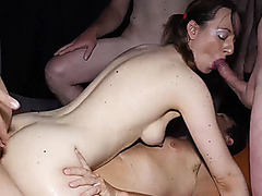 rough double anal gangbang orgy