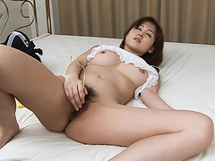 Gorgeous and hot babe stripping off and masturbating - More at javhd.net