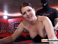 Hot european slut gets her mouth pissed in before being drilled