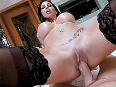 Horny MILF stepmom fucks a stepsons big cock for birthday
