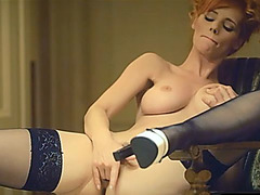 Pin up lingerie setup and solo fingering with red hair