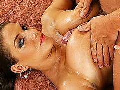 big boob oiled milf banged