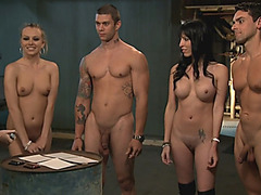 Horny sluts nasty 4some in the jailcell with horny men