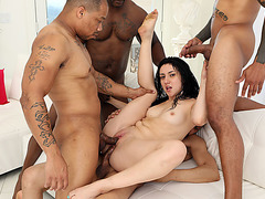 Latina banged hard by four black dicks