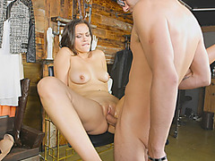 Big tits lady Karter Foxx convinced to fuck for money