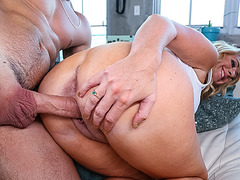 Stepmom rushes in to grab cock in her mouth