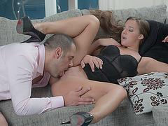 Slutty babe Amirah fucks friend at the house