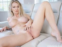 Seductive wife Natasha Starr spreads her wet juicy pussy