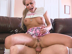 Busty blonde toys n squirts in guys face