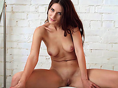 European natural busty beauty Elina sensual striptease