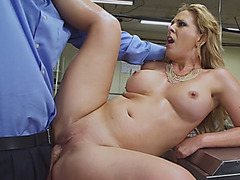 Huge boobs milf gives head and pounded in the kitchen