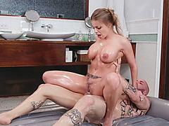 Busty masseuse gives massage and smashed by tattooed man