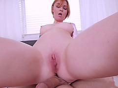 Busty redhead stepmom goes down for a POV style blowjob