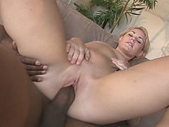 Splendid blond ass banged by black dudes on the couch