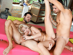 Slut blonde toyed n analed by two cocks