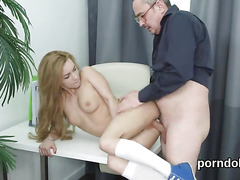 Sultry college girl gets tempted and nailed by elderly schoolteacher