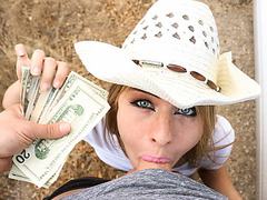 Stranded blonde cowgirl sucks dick for money