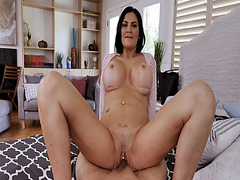 Stepson let Jasmine Jae ride her milf pussy on top of his cock
