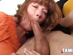 Mature Slut Shows a Teen How to Suck Cock