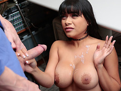 Teen latina Aryana got punish with officers cock